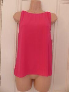 Zara Trafaluc size XS bright pink sleeveless polyester top, very low draped back