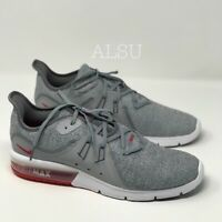 Sneakers Mens Nike  Air Max Sequent 3 Cool Gray Red Low Top Canvas