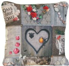 """Sweet Home Cushion Cover Grey Pink Red Roses Harts Printed Throw Pillow Case 16"""""""
