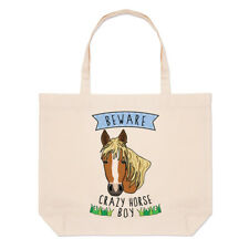 Beware Crazy Horse Boy Large Beach Tote Bag Funny Animal Joke