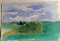 "Original Painting Watercolor Island Green Blue Ocean Sky Reef 4 3/4"" x 7 1/2"""