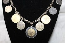 Italian Lire Coin Charms on Sterling Silver Necklace