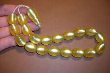 USED YELLOW GOLD TONE BAKELITE/LUCITE PRAYER BEADS, TESBIH KOMBOLOI 72.2 GRAM