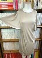 COS Jersey Dress XS UK 8 10 US 4 6 Cape Sleeve Casual Stretch Draped Beige Taupe