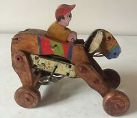 VINTAGE CLOCKWORK WOODEN BRONCO STYLE RACE HORSE & RIDER~ MADE IN JAPAN -WORKING