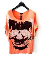 CAROLINE MORGAN Orange Top Plus Size 14 Lace Down Open Back Silver Skull Punk
