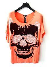 CAROLINE MORGAN Orange Top Plus Size 14 Lace Down Open Back Silver Skull Punk
