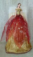 Christmas Tree Top Fairy Angel Dark Red & Gold Feather Wings Elegant Fairy
