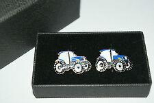 New Holland/Ford Blue Tractor Cufflinks Wedding Party Farming Gift Boxed Enamel