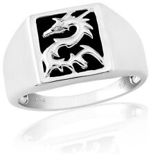 Unbranded Onyx Signet Sterling Silver Costume Rings