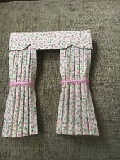 Pretty 1/12 Scale Dolls House Curtains - Cream With Ditsy Pink Floral