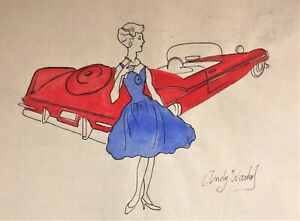 ORIGINAL ANDY WARHOL DRAWING * FEMALE FASHION FIGURE * INK AND GOUACHE ON PAPER