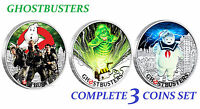 2017 Complete 3-coin SET GHOSTBUSTERS Crew Slimer Stay Puft 3oz SIlver Proof $1