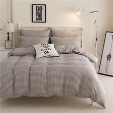 Single Double Queen King Bed Set Pillowcase Quilt/Duvet Cover Coffee Checked tAU