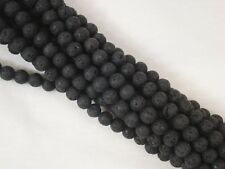 Lava Beads Matte Black 6mm Roundish Beads 35cm Strand Jewelry FREE POSTAGE