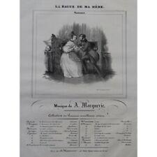 Marquerie A. La Anillo De mi Madre Canto Piano ca1840 Partitura Hoja Música