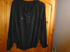 Black hip length long sleeve top, on or off the shoulder, PAPAYA, size 14