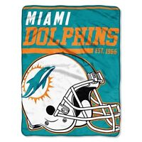 "New NFL Miami Dolphins Soft Micro Rasche Large Throw Blanket 46"" X 60"""
