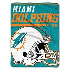 """New NFL Miami Dolphins Soft Micro Rasche Large Throw Blanket 46"""" X 60"""""""