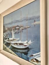"""1958 Gallery Print Framed Glazed """"Sailing Days By Beaucamp"""""""