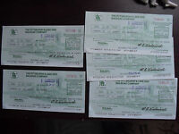Lot of 5 Vintage 1970s Pittsburgh & Lake Erie Railroad Co Cancelled Checks