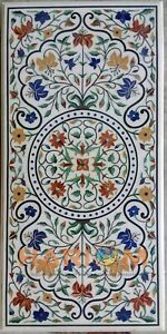 """22""""x42'' Marble Dining Table Top Multi Stone Floral Marquetry Inlay Decors W222"""