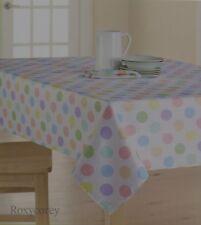 Easter Spring Celebrate Together White Polka Dot 60x102 Oblong Tablecloth  NIP