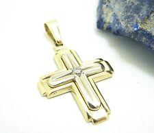 Großes Kreuz Anhänger 585 Gold 14 kt Goldanhänger Steinanhänger Unisex