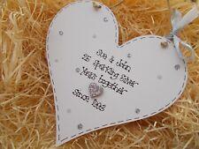 Silver Wedding Anniversary Wooden Heart Plaque Keepsake Gift