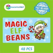 48x Christmas MAGIC ELF BEANS Stickers Xmas Santa Clause Gift Seal Label Tag X57