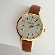 BREDA Joule 1722B Slim Rose Stainless Quartz Brown Leather Band Analog Watch