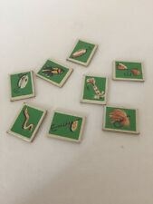 1959, Whitman, Lucky Fisherman Game Parts & Pieces Lot Green Bait 8 Pieces