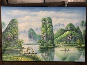 Oil on canvas, Large, Hong Kong Landscape. 23 X 35