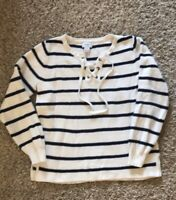 Old Navy Women's Sweater Striped Lace-Up Small Navy White