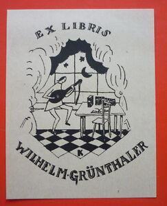 """Exlibris, Bookplate """"Wilhelm Grünthaler"""" Jugendstil, Musik"""
