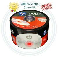600 HP DVD-R DVD Logo branded 16X Blank media disc 4.7GB / 120Min - 12pks of 50