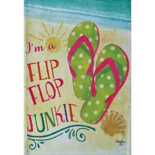 "i'M A FLIP FLOP JUNKIE 28"" X 40"" PORCH FLAG 26-2716-167 FLIP IT! RAIN OR SHINE"