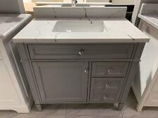 "36"" Sorel Solid Wood Single Sink Bathroom Vanity Cabinet Alaskan White Quartz"