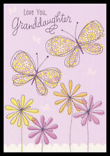 204GC Butterfly - Granddaughter - Birthday Greeting Card - Glitter