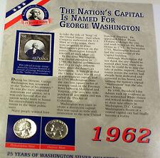 1962 P & D Washington Silver Quarter Two Coin Circulated Set $60 Guyana Stamp