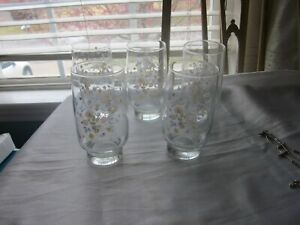 Arcopal VICTORIA 10 oz Tumblers SET of 5 ~Florals ~ Made in France