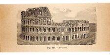 Stampa antica ROMA veduta del Colosseo Rome 1910 Old print