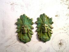 Verdigris Patina Brass Native American Indian Stampings (2) - Vprat6599