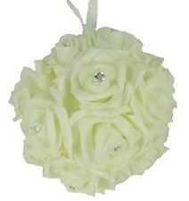 "6.5"" IVORY Hanging Foam Pomander Kissing Rose Wedding Ball w/ Acrylic Diamonds"