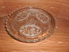 Lead Crystal Pedestal Torte Cake Stand - Floral Design - Made in Bulgaria