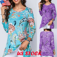 US Womens Floral Long Sleeve T Shirt Ladies Casual O Neck Loose Blouse Long Tops
