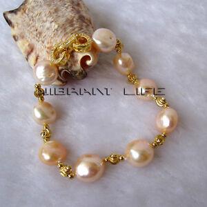 "8"" 11-13mm Peach Pink Baroque AA Freshwater Pearl Gold Color Bead Bracelet U"