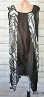 Taking Shape Ts 14+ Layering Tank Top Dress Size Plus 12 Black White Silver