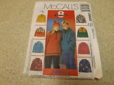 McCalls 2965-8 Styles Unisex Pullover Polar Fleece Hoodie Top Pattern*7-10*FF