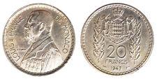 20 Francs 1947 Louis II Monaco #6805A